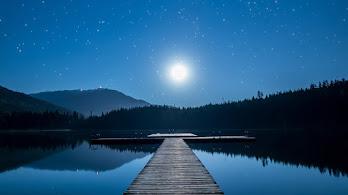 Moonlight, Night, Stars, Lake, Dock, Scenery, 4K, #4.2325