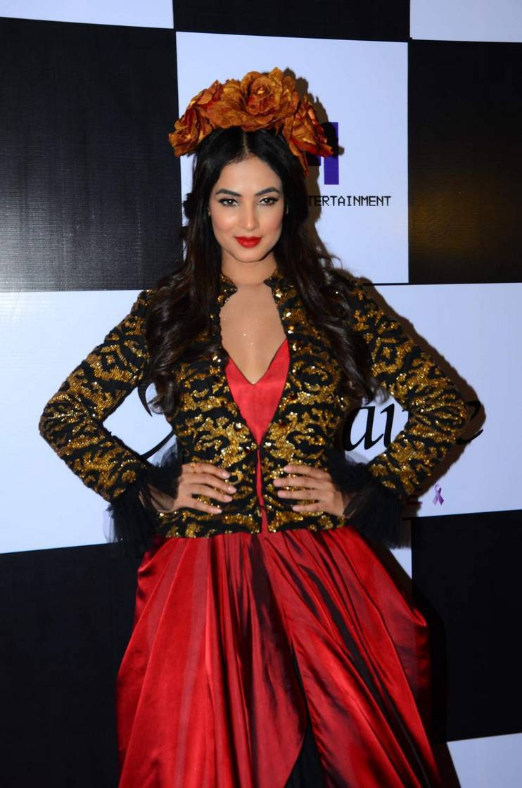 Sonal Chauhan Stills At Fashion Show In Red Dress