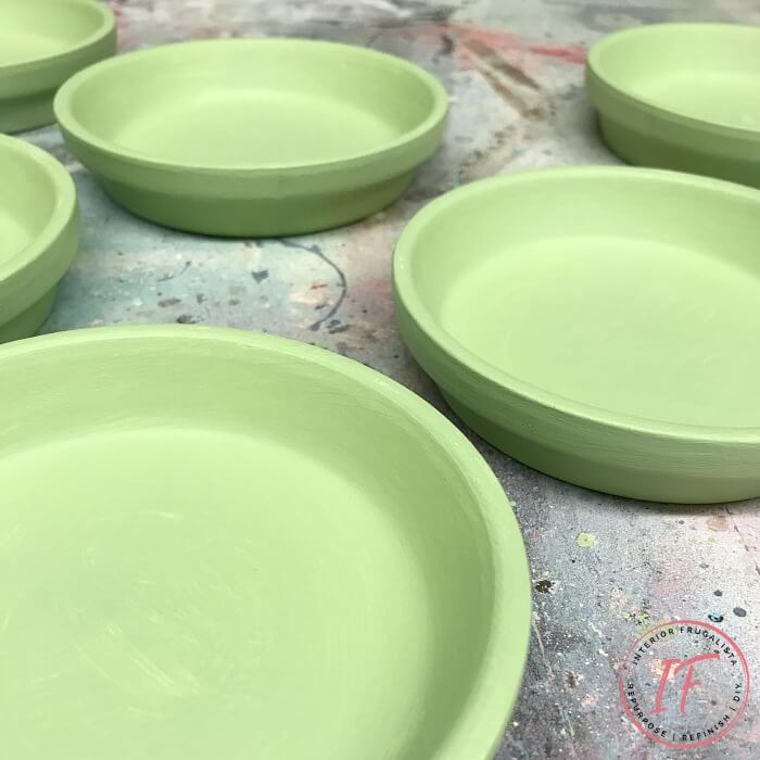 Green Painted French Terracotta Coasters