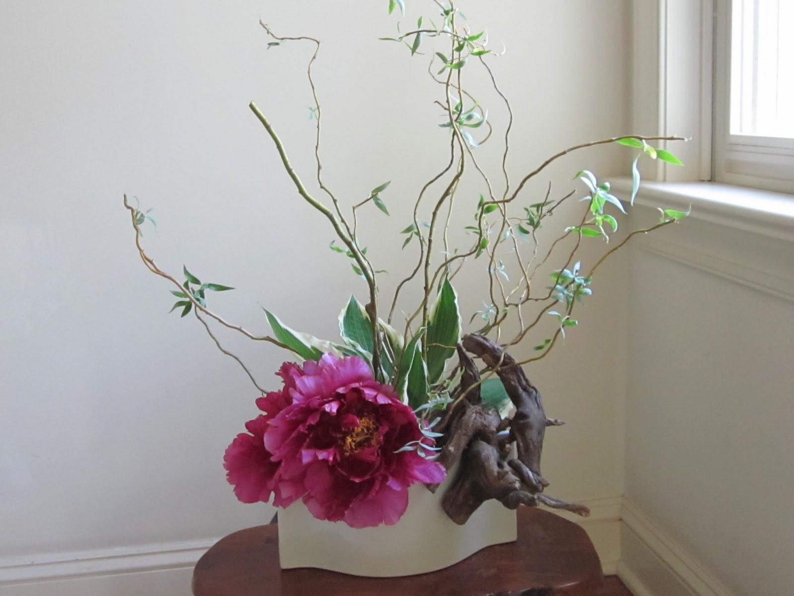 Orchids And Ikebana Peony Arrangement Mass And Line 3