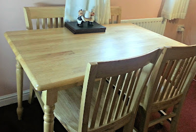 Rubberwood dining table set.