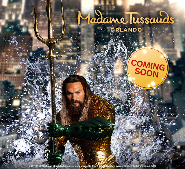 Be the FIRST to see Jason Momoa as Aquaman when his interactive wax figure debuts at Madame Tussauds Orlando on December 4!