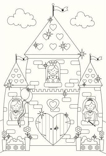 Tranh cho bé tô màu lâu đài 5