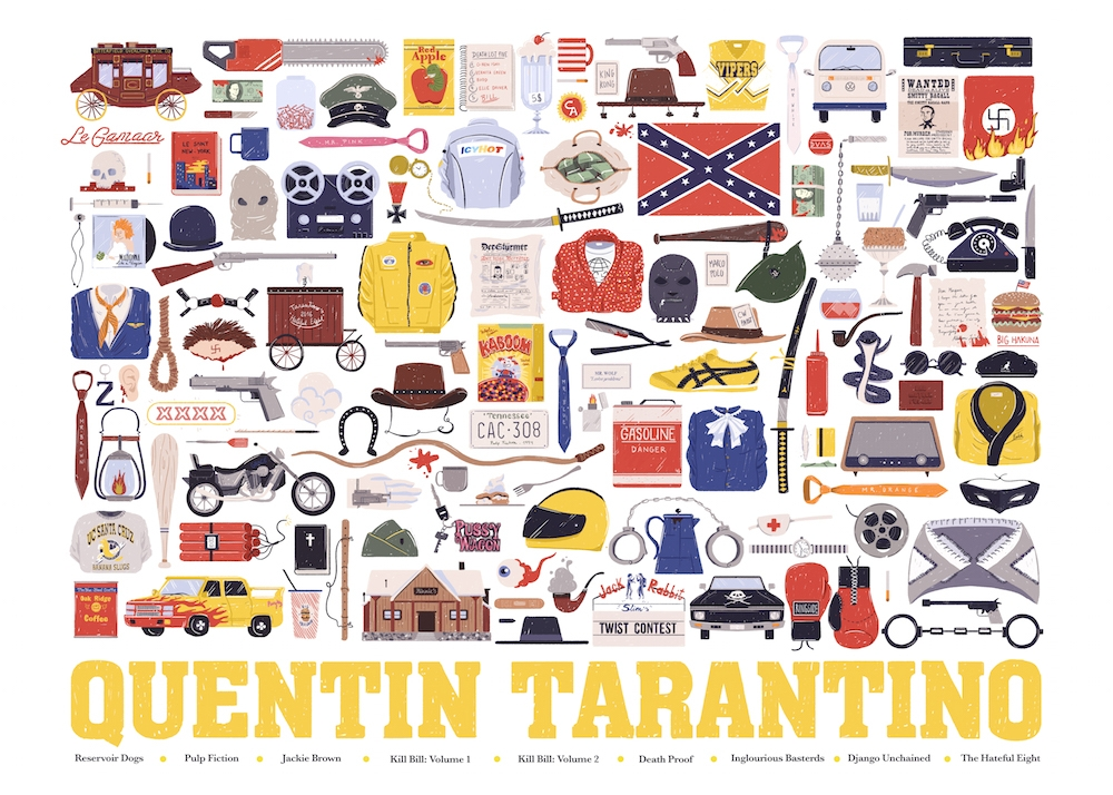 03-Quentin-Tarantino-Maria-Suarez-Inclan-Movie-Illustrations-Infographic-Guess-the-Film-www-designstack-co