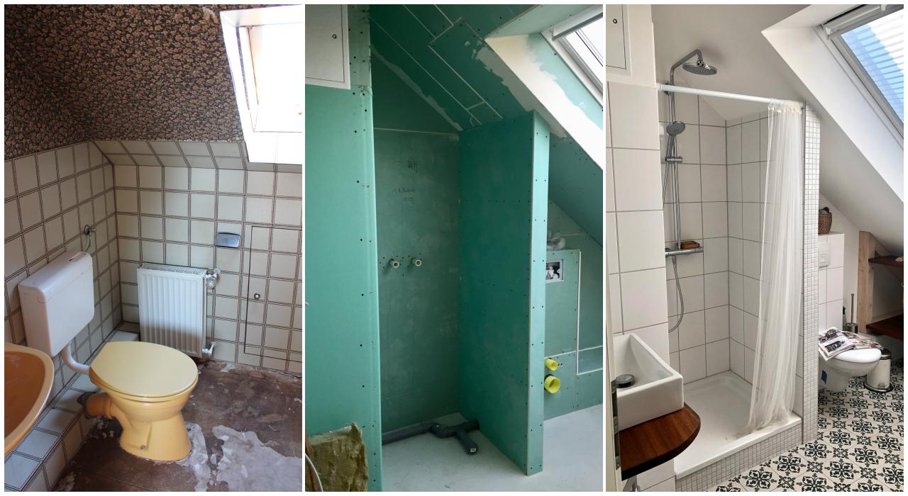 Vorher-nachher: das Badezimmer im Dachgeschoss - Sunnys Haus