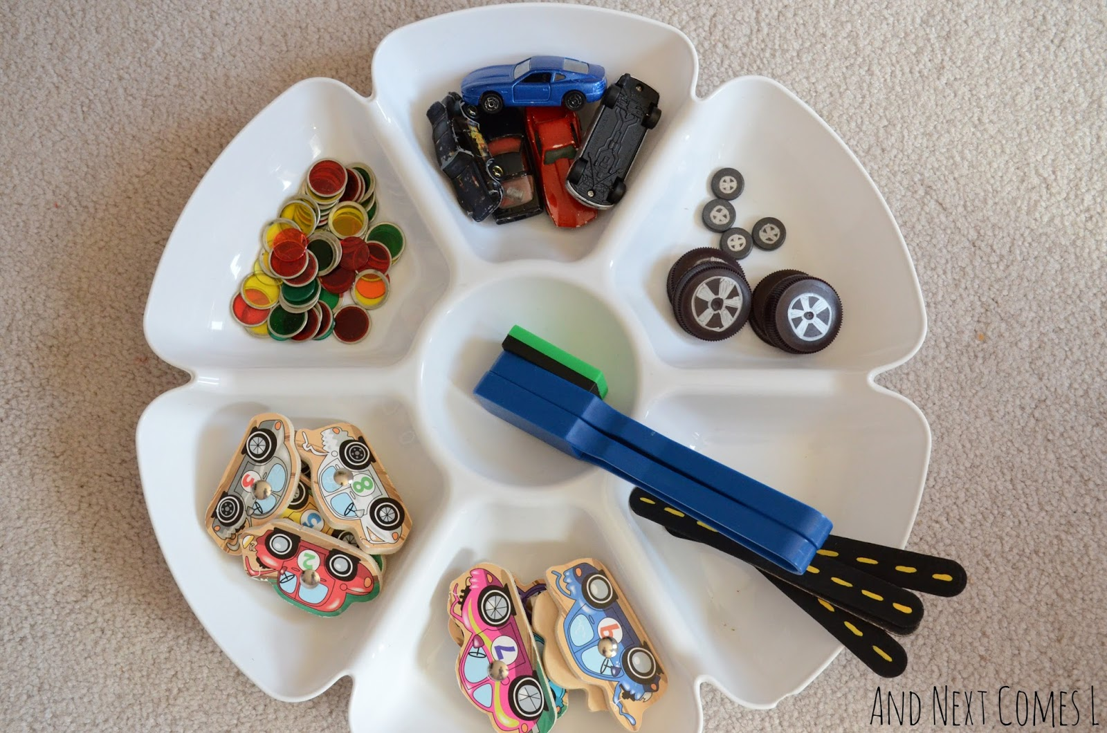 Simple science for toddlers and preschoolers using magnets with a car theme from And Next Comes L