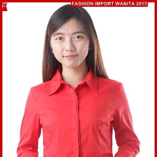ADR086 Kemeja Wanita Classic Merah Import BMGShop