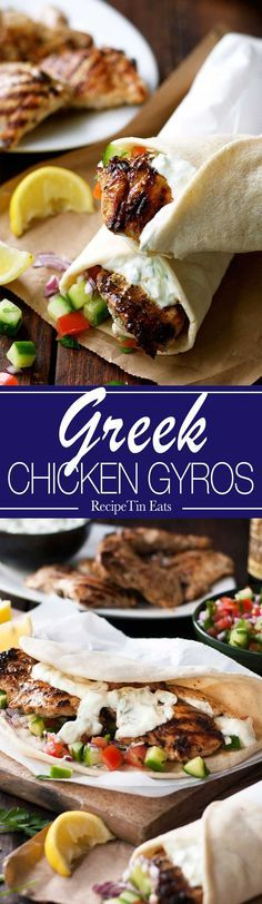 Greek Chicken Gyros with Tzaziki #DINNER #LUNCH #CHICKEN
