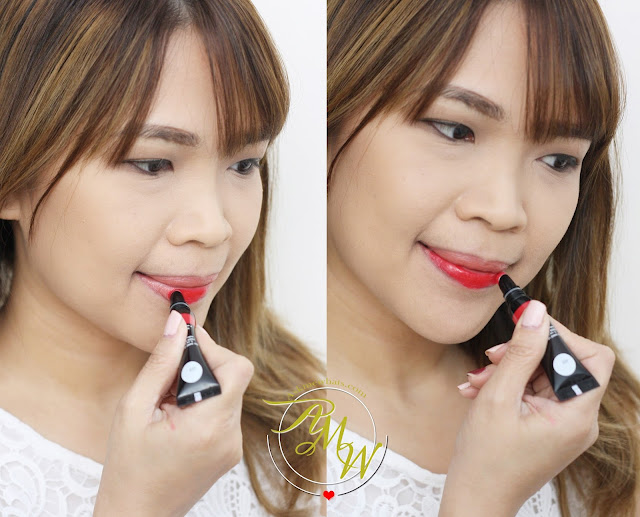 a photo of Nikki Tiu wearing Make Up For Ever Fuchsia Pink (201) Artist Acrylip and Make Up For Ever Iconic Red (400) Artist Acrylip