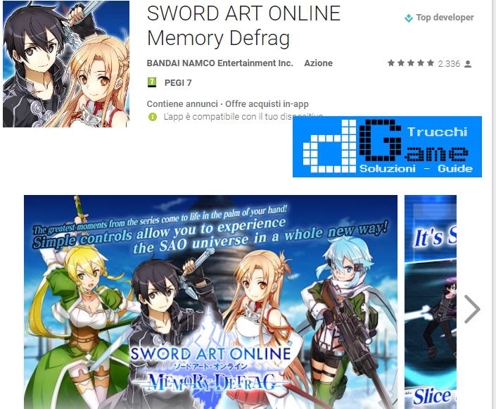 Trucchi SWORD ART ONLINE Memory Defrag  Mod Apk Android v1.7.2