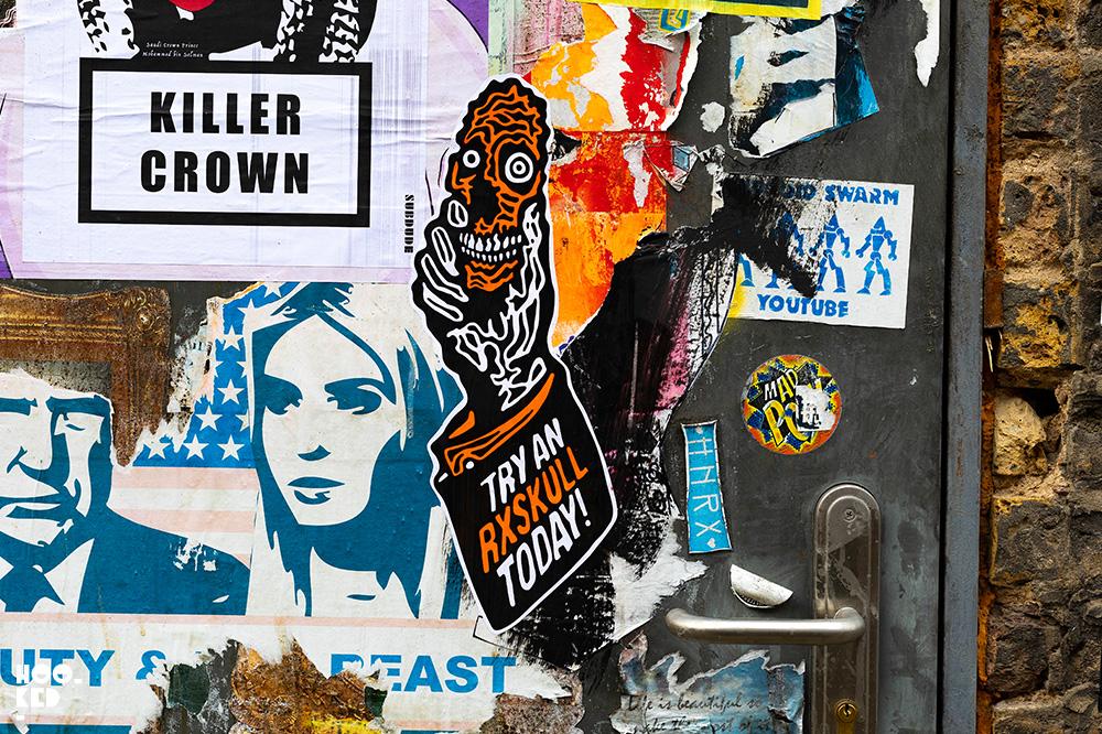 Shoreditch Street Art Stickers featuring artist RxSkull on Buxton Street