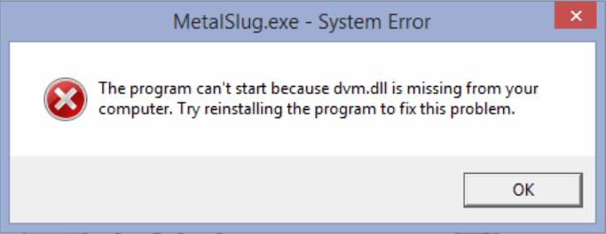 Contoh system error karena file dvm.dll missing