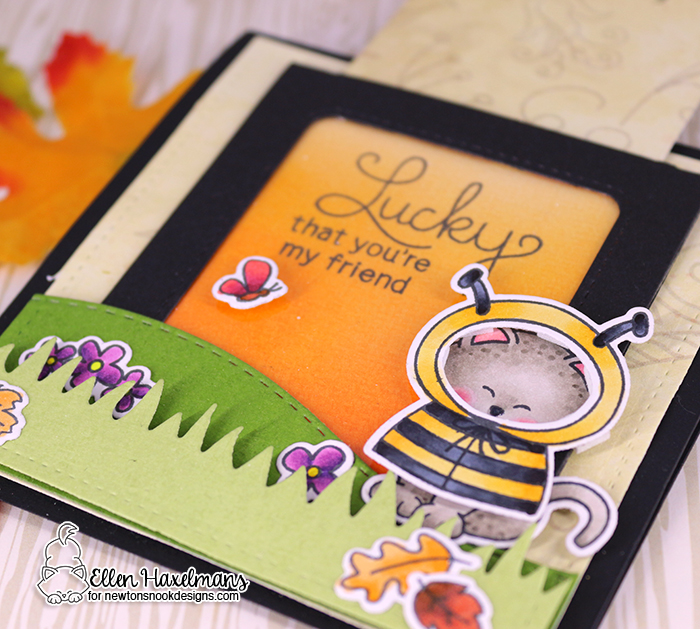 Sliding Message Card by Ellen Haxelmans | Newton's Costume Party Stamp Set, Land Borders Die set, and various other stamps by Newton's Nook Designs #newtonsnook #handmade