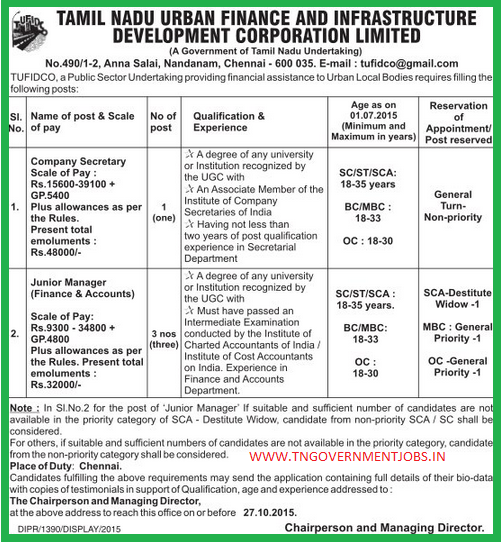 Applications are invited for the post of Company Secretary and Junior Manager (Finance and Accounts)  vacancy in Tamil Nadu Urban Finance and Infrastructure Development Corporation Ltd (TUFIDCO) Chennai under direct recruitment process.
