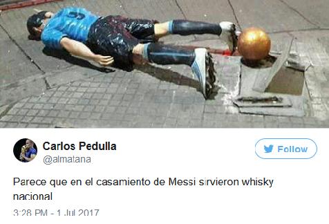 Luis Suarez Statue Vandalised After Attending Lionel Messi's Wedding