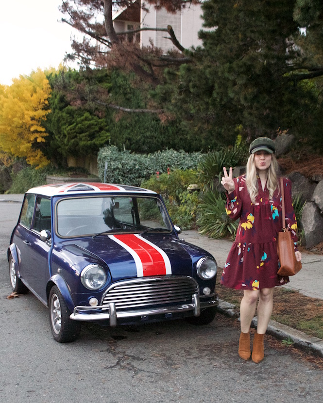 Fall Floral Dress & Bakers Cap, mini cooper , peplumsandpie.com, peplums & pie