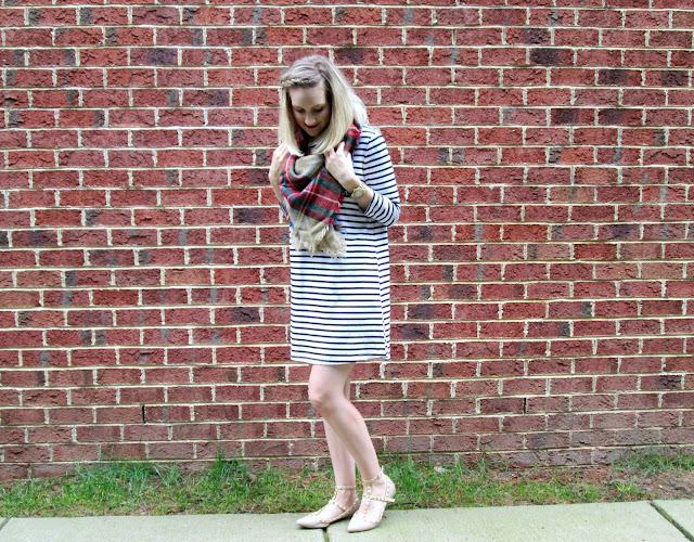Striped dress from Tobi with plaid scarf and studded shoes
