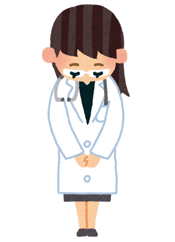 お辞儀をしている医者のイラスト(女性) | かわいいフリー素材集 いらすとや