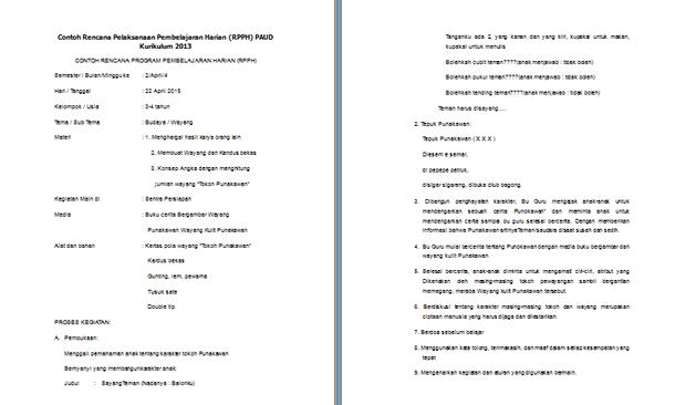 Contoh RPPH dan RPPM PAUD Kurikulum 2013