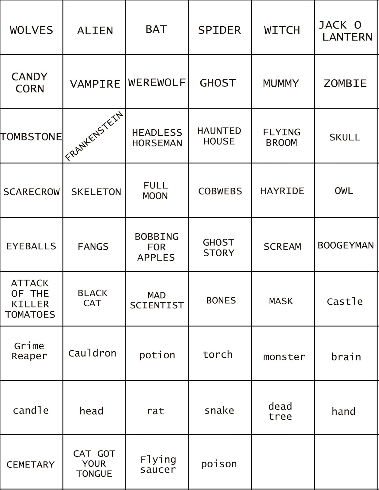 Halloween Pictionary Word List