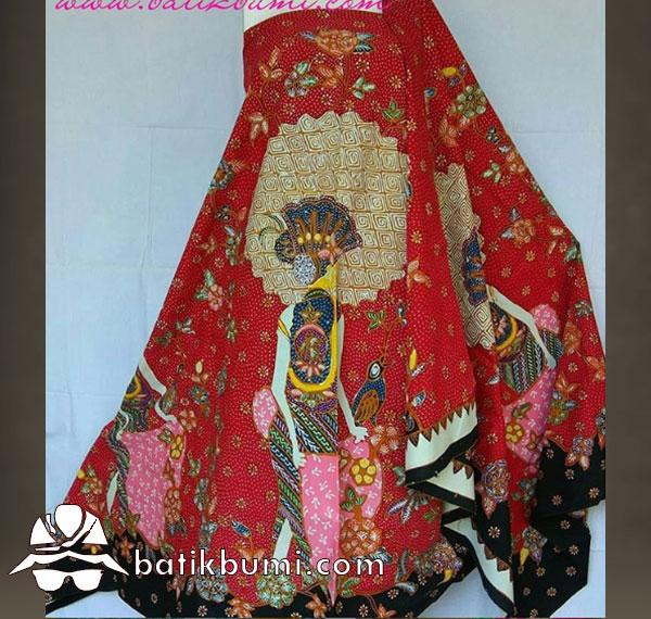 Batik Tulis Motif Penari & Rembulan latar Merah