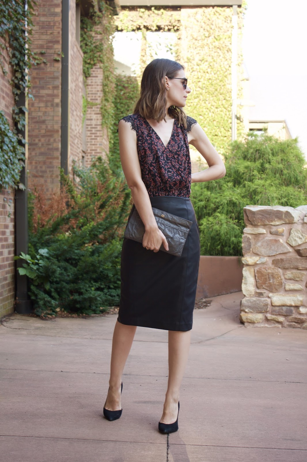 Express Black Faux Leather Pencil Skirt