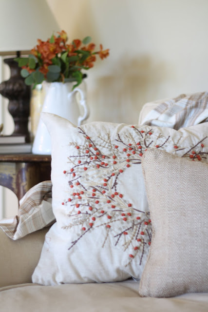 fall home tour orange flowers autumn decor pillows