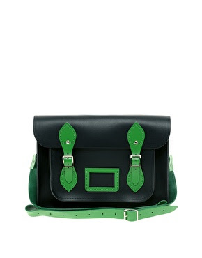 "ASOS Exclusive 13"" Contrast Trim Cambridge Satchel GBP 110  Black and Green"