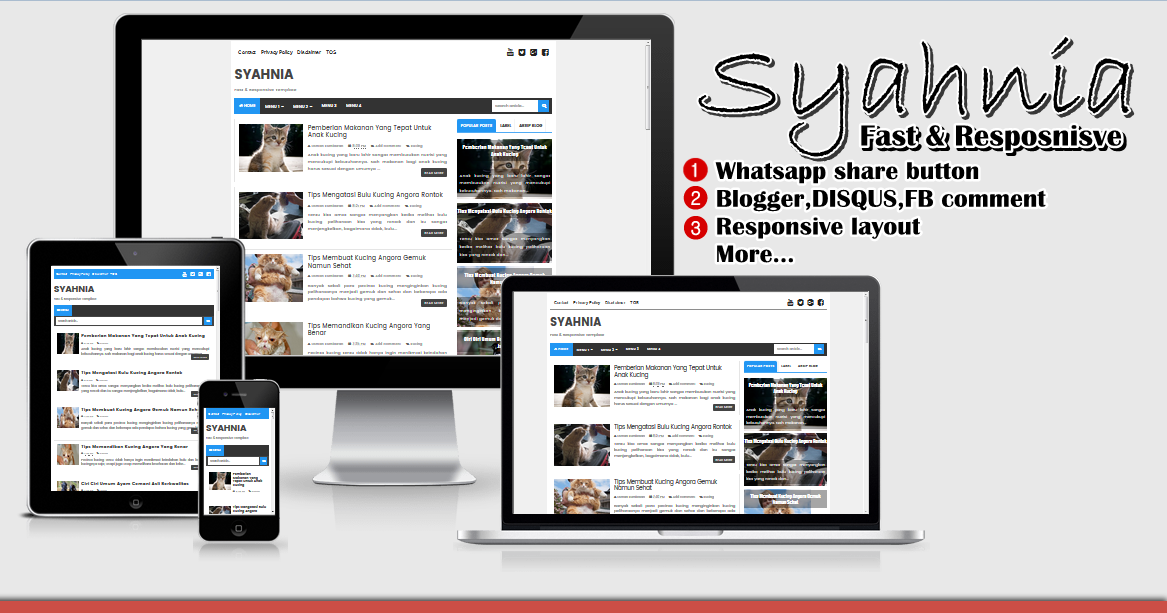 Syahnia Fast and Responsive Blogger Template 2017