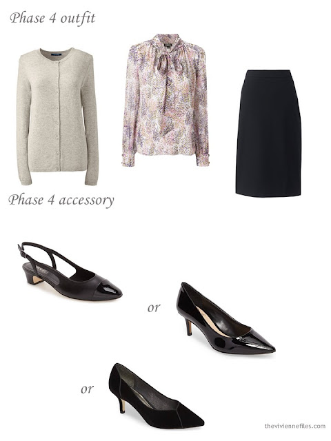 adding black pumps to a 4 by 4 Wardrobe in black, taupe and pink