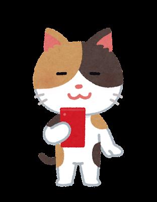 スマートフォンを使う猫のキャラクター