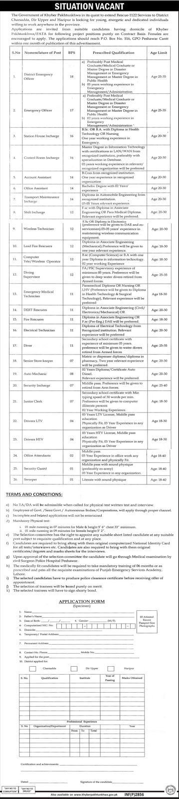 Jobs In Rescue 1122 Govt Of Khyber Pakhtunkhwa 15 June 2017