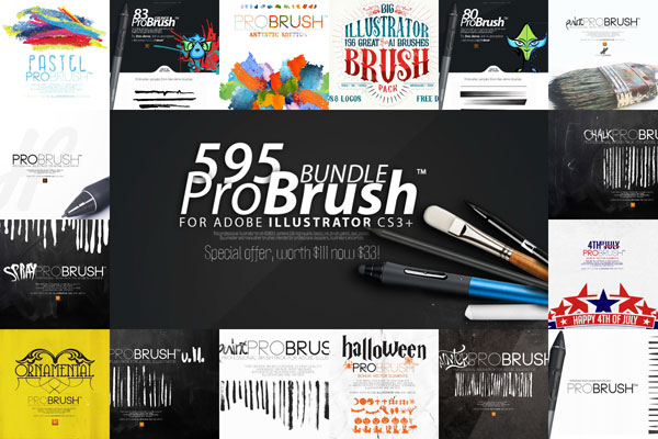 595 pinceles profesionales para illustrator