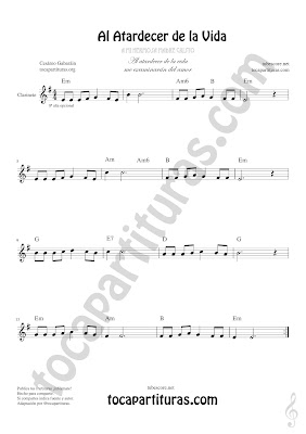 Clarinete Partitura de Al Atardecer de la Vida Sheet Music for Clarinet Music Score