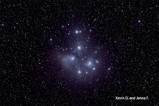 Image of M45 - The Pleiades, or Seven Sisters Imaged by Kevin D. and Jenna F. - Students of the Plymouth Community intermediate School