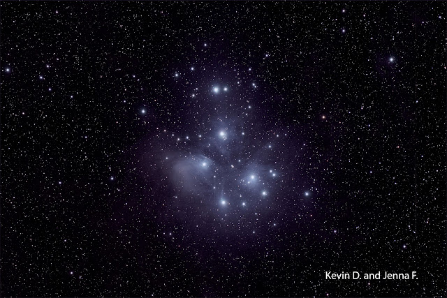 M45 - The Pleiades, or Seven Sisters Imaged by Kevin D. and Jenna F. - Students of the Plymouth Community intermediate School