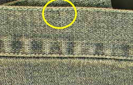 Thread discolouration after laundry in jeans