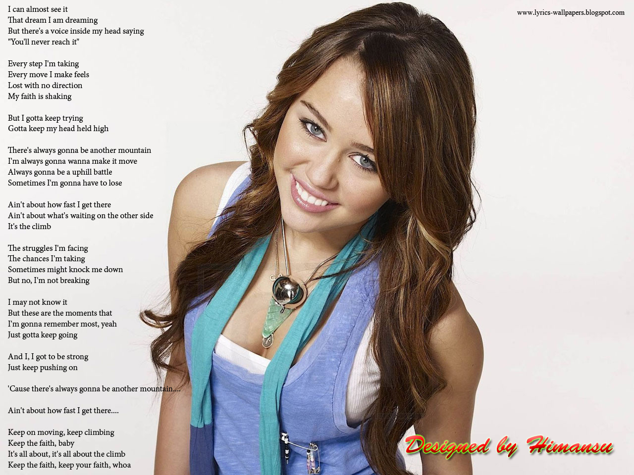 Lyrics Wallpapers: Miley Cyrus - The Climb