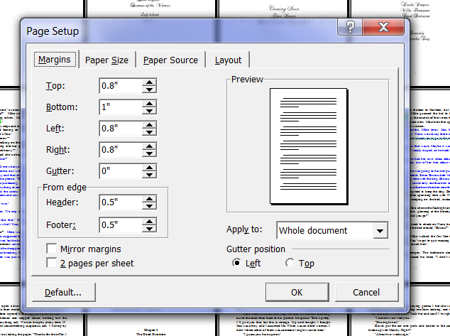 Standard essay margin size