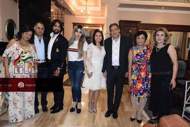 معتز الدمرداش ونجوم الإعلام في حفل عشاء على شرف المهندس حسام الخولي وحرمة شيماء السباعي