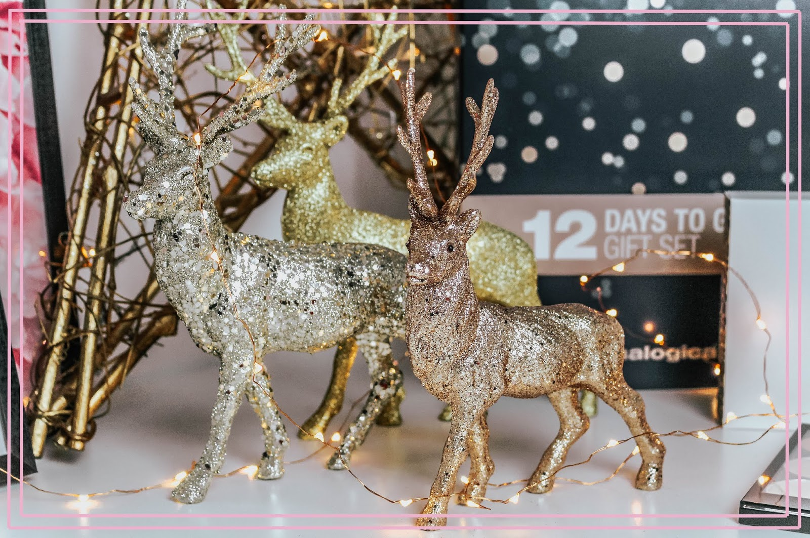 Christmas Glitter Reindeer Family Ornaments