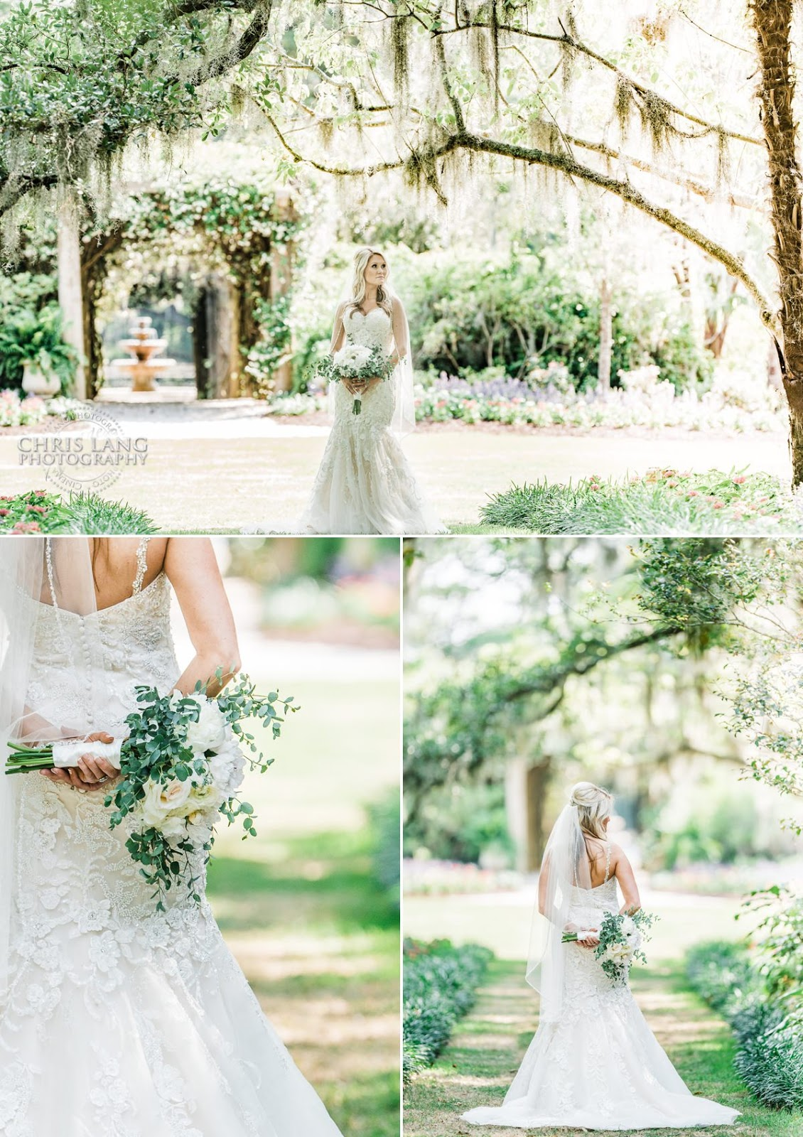 Airlie Gardens Weddings - Wilmington NC - image of Bride in wedding dress holding  wedding bouquet - Airlie gardens wedding photographers