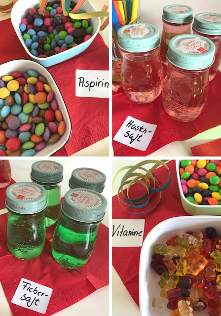 Kindergeburtstag mit Krankenhaus-Motto -Getränke und Knabberkram