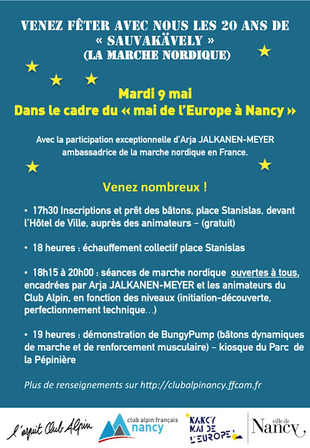Mai de l'Europe à Nancy le 9 Avril 2017 Marche Nordique