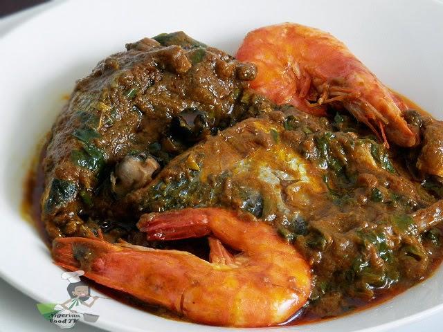 Abak Mbakara (seafood palmnut soup)
