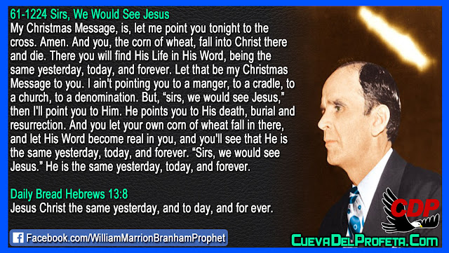 Let me point you tonight to the cross - William Branham Quotes