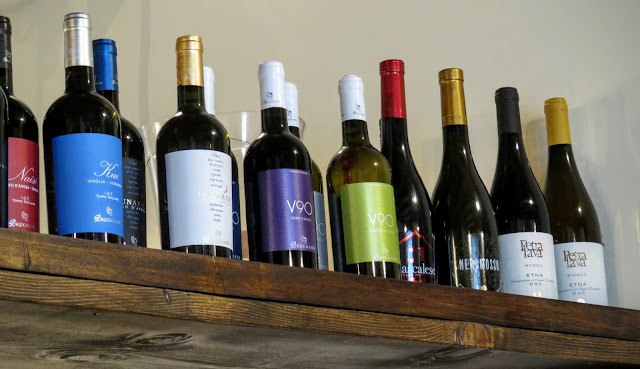 Sicilian Food - wine bottles