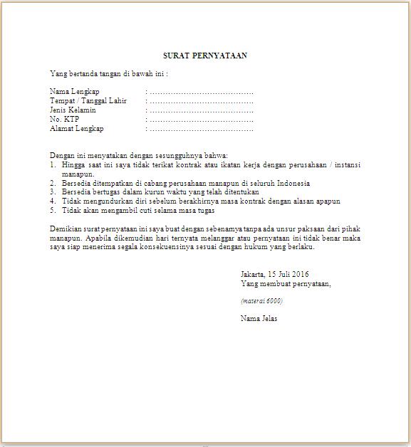 contoh draft surat pernyataan untuk melamar kerja