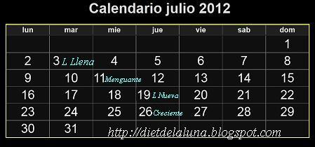 Dieta de la luna calendario lunar julio 2012 for Calendario lunar junio