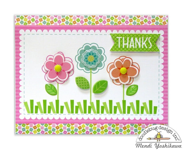 Doodlebug Design Spring Things Flower Thank You Card by Mendi Yoshikawa